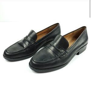 Madewell Elinor Black Leather Penny Loafer